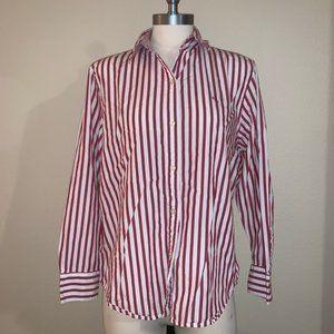 LRL Vintage Style Red White Stripe Button Down Top